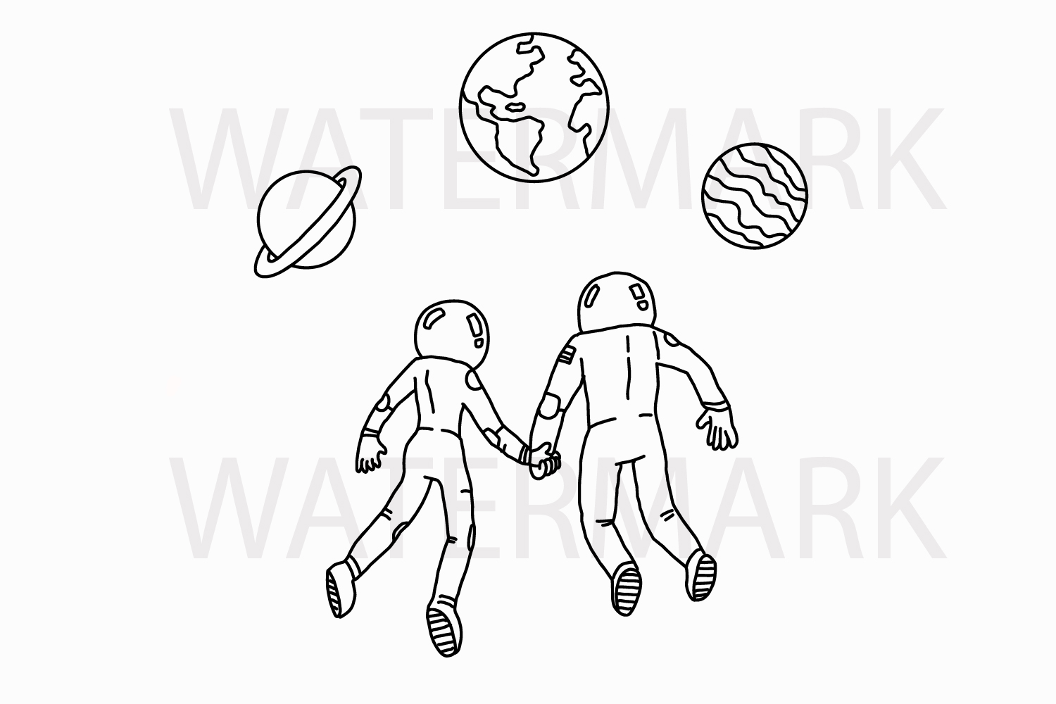 Romantic Astronaut Couple in the space - SVG/JPG/PNG Hand Drawing example image 1