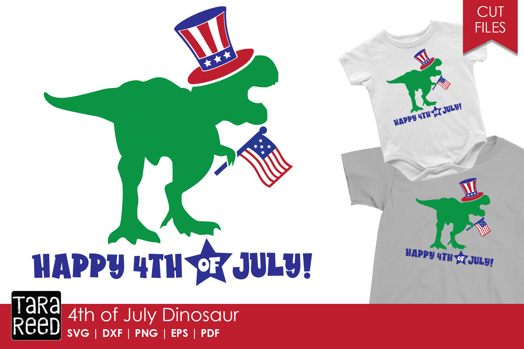 4th of July Dinosaur - Patriotic SVG and Cut Files example image 1