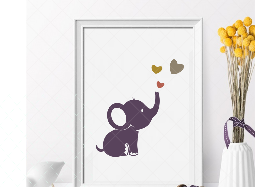 Baby elephant svg, cute elephant, baby shower cut file example image 1