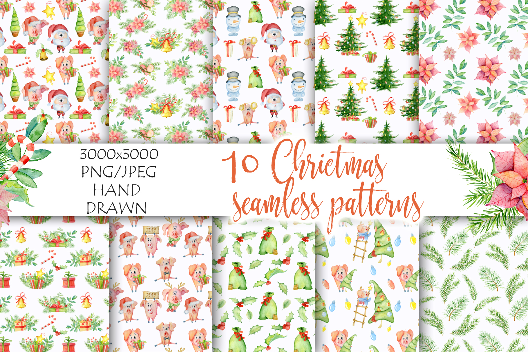 Christmas seamless patterns with pigs example image 4
