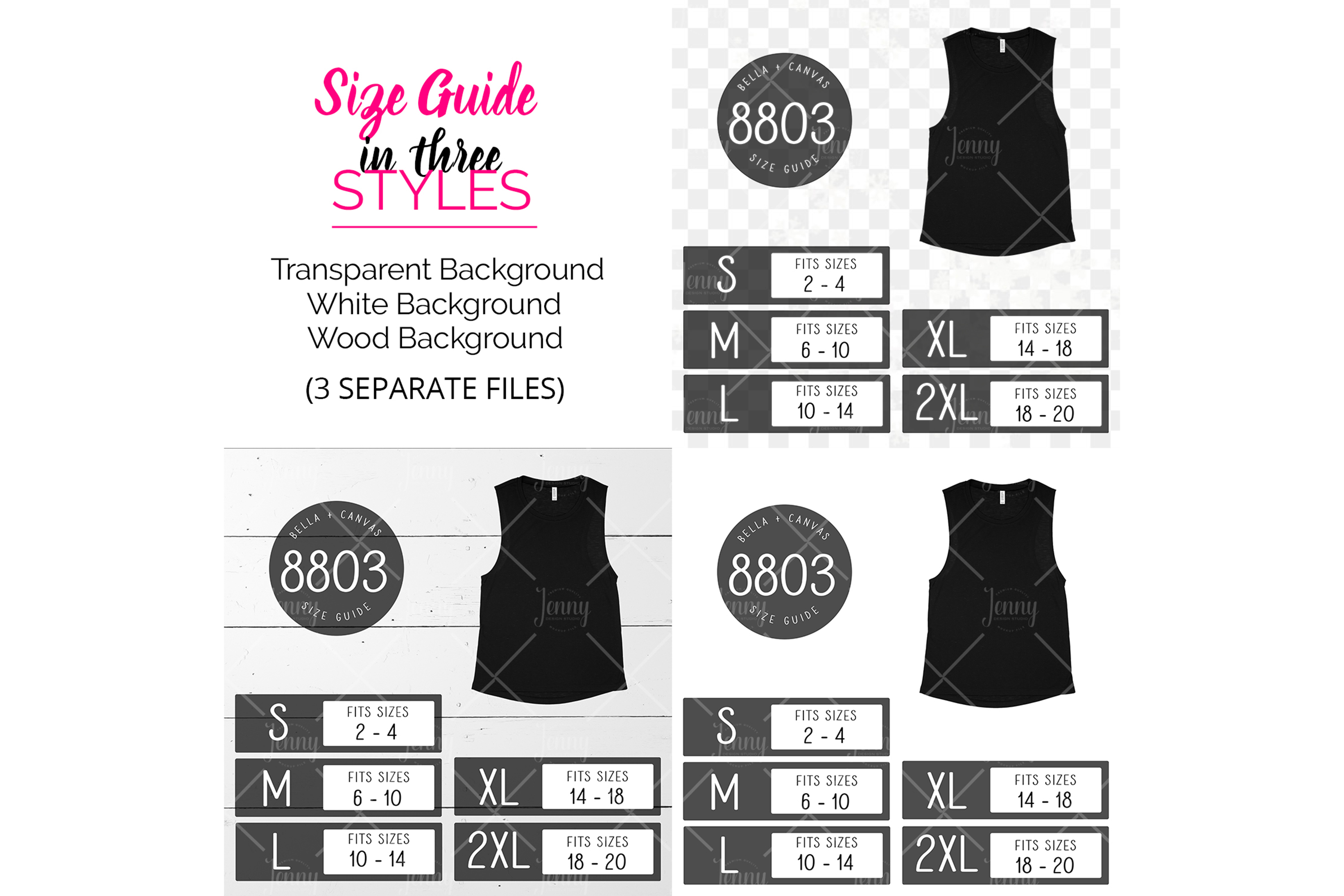 Bella Canvas 8803 Tank Top Size Chart Mockup example image 2