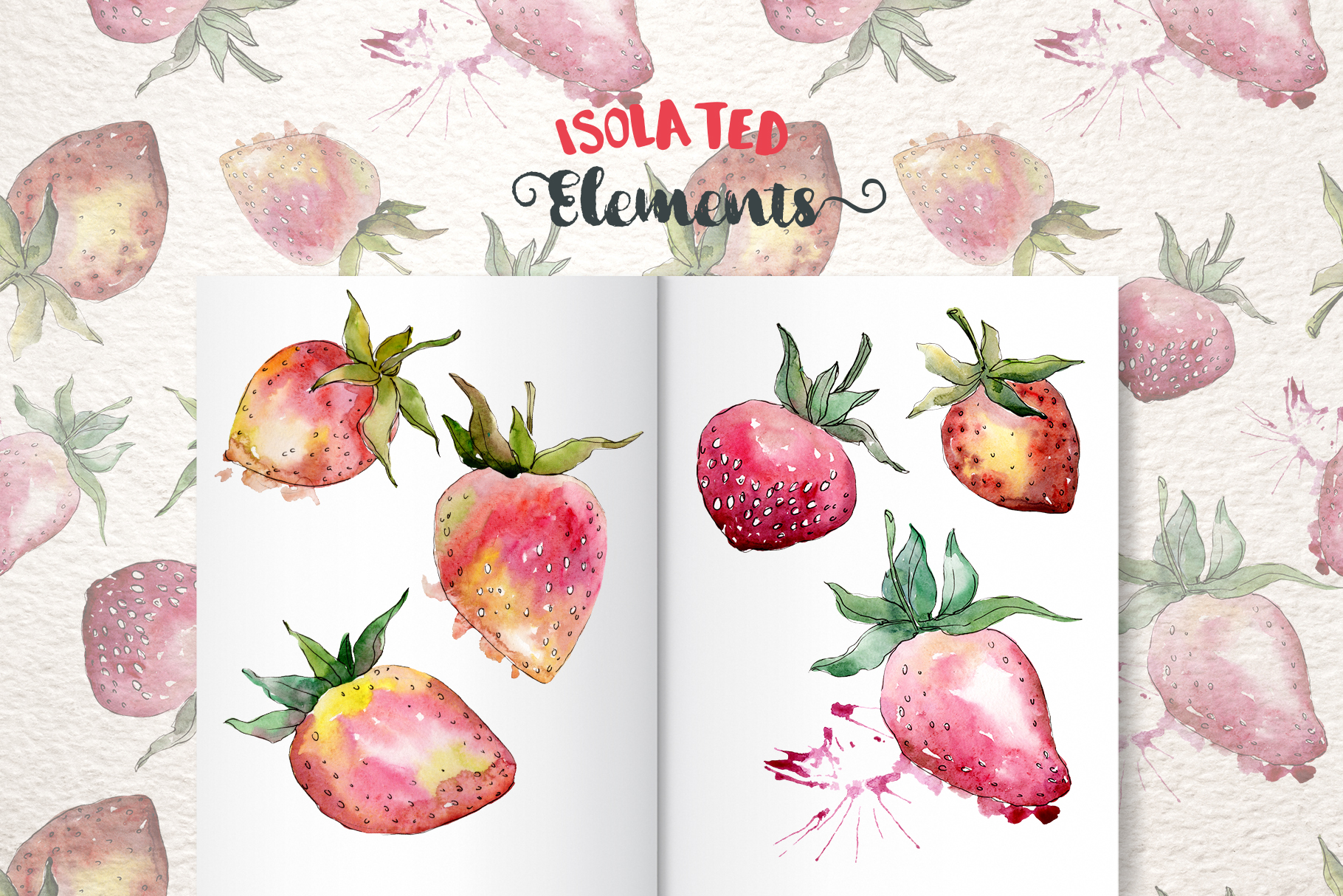 Strawberry Watercolor png example image 9