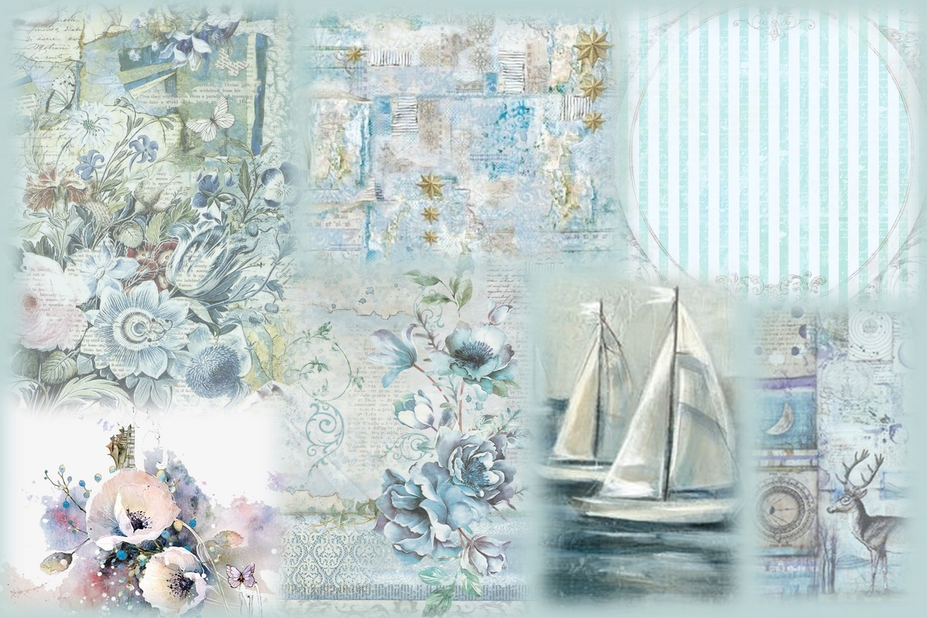 8 Nautical Collage Sheets 8.5 x 11 inches. JPEG and PDF example image 3