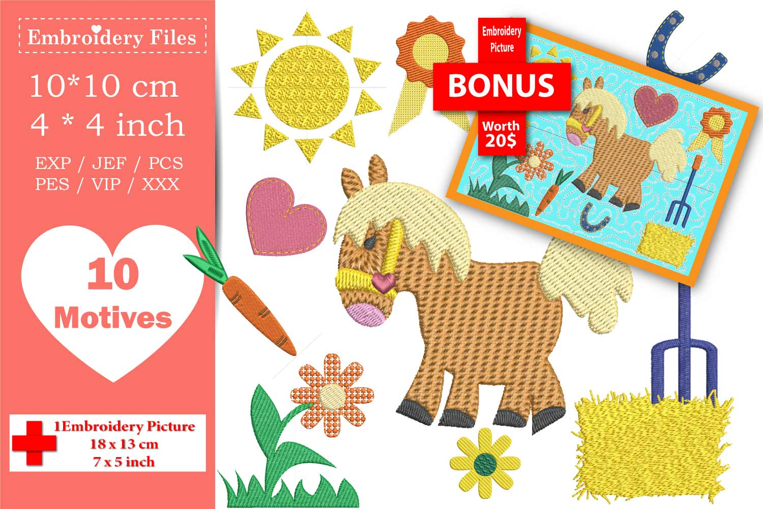 My lovely Pony - Embroidery Files - 10 Motives example image 1