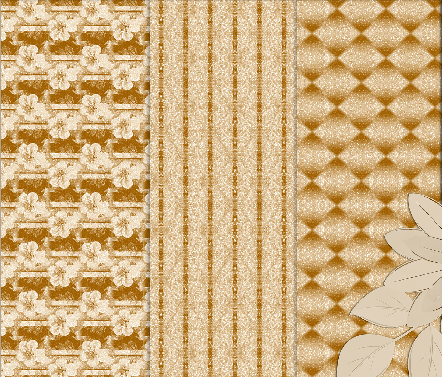Ancient white-beige floral and geometrical Scrapbook Paper. example image 6