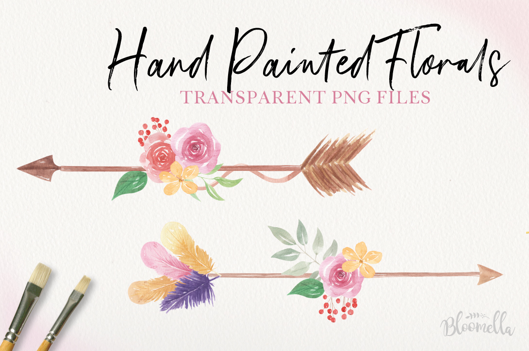 Boho Arrows Watercolor Floral Pink Flowers Blooming Leaves example image 2