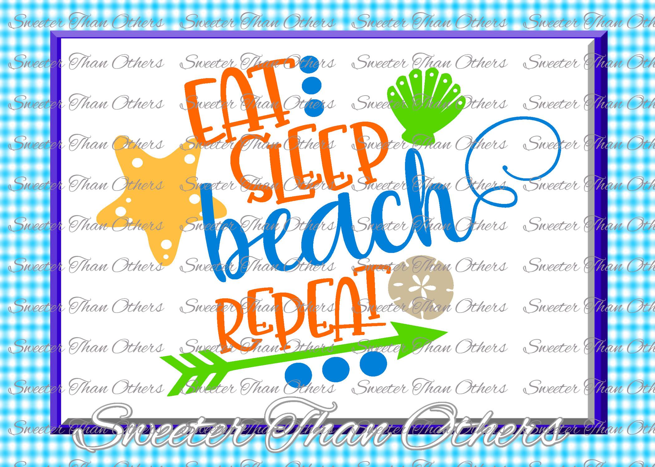 Beach Svg Eat Sleep Beach Repeat svg, Summer Beach example image 1