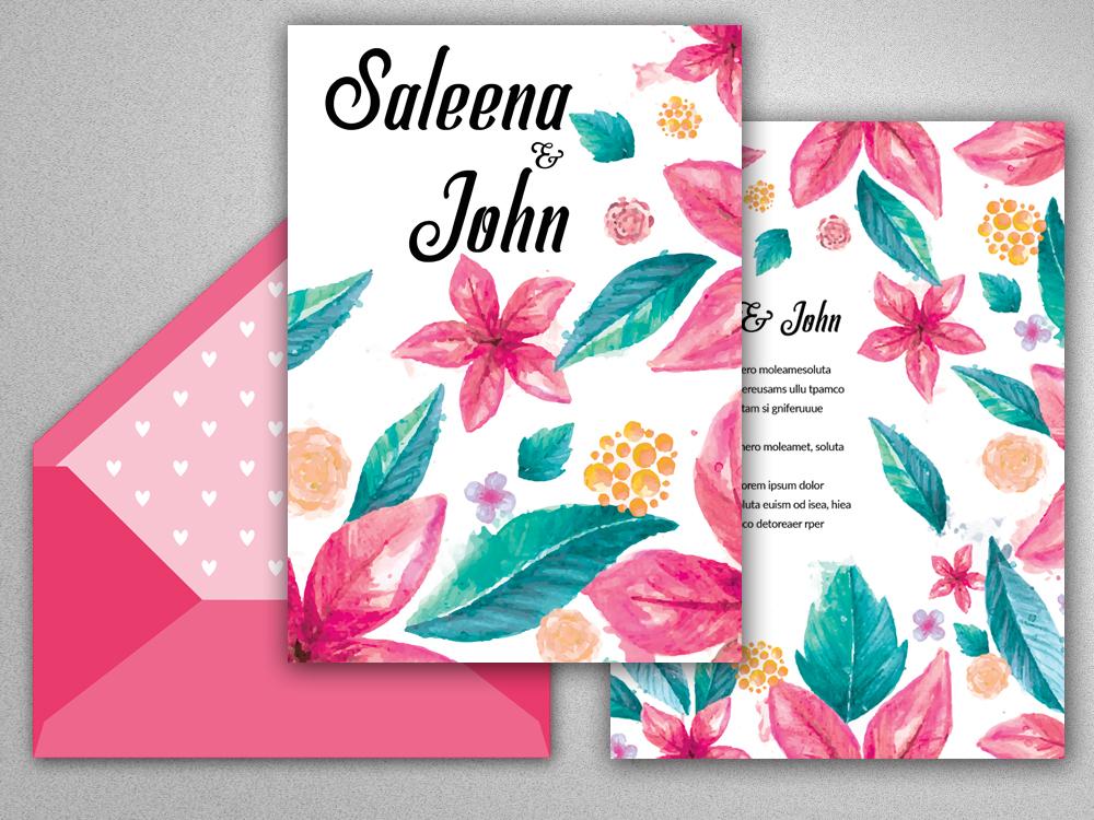 Double Sided Wedding Invitation Card example image 2