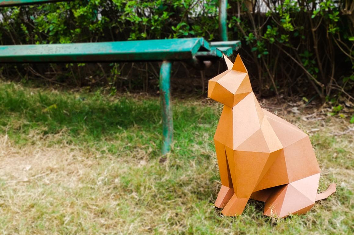 DIY Paper cat - 3d papercraft example image 3