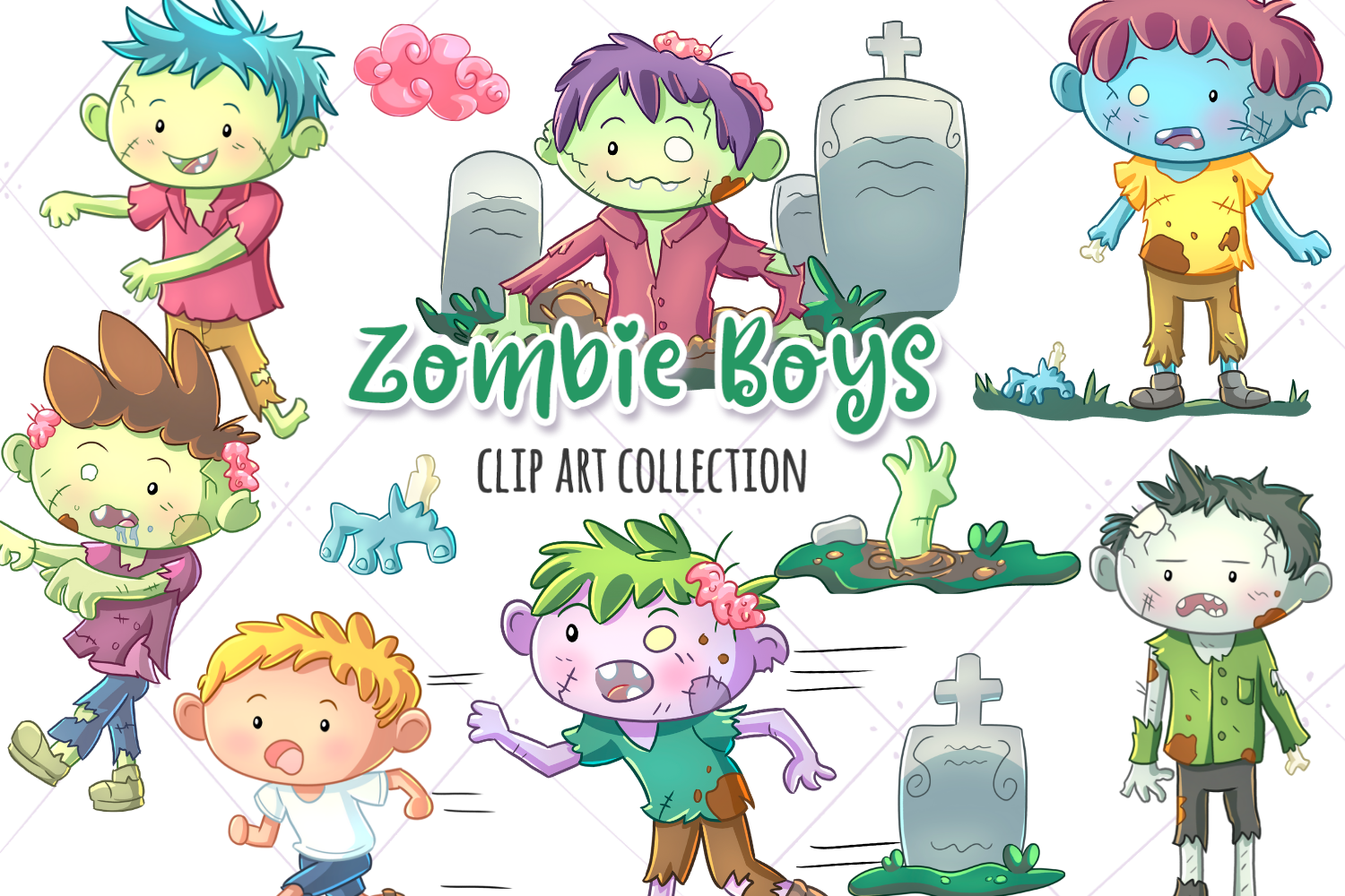 Zombie Boys Clip Art Collection example image 1