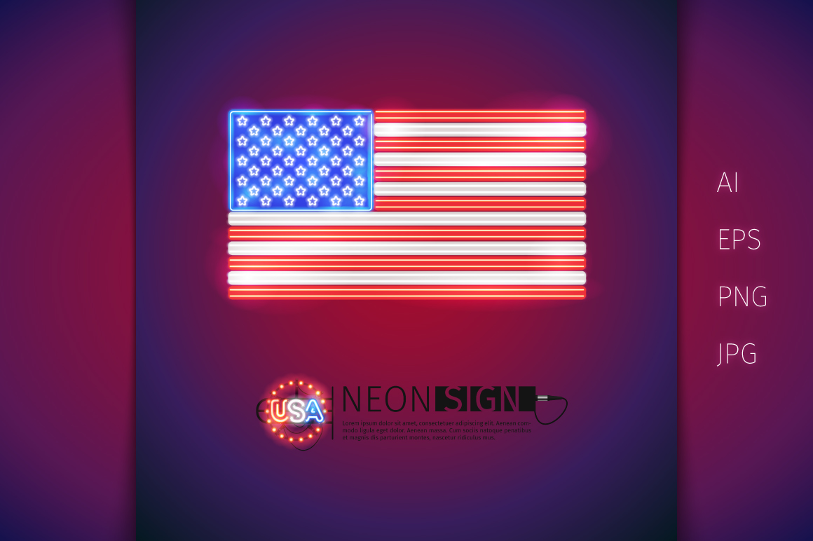 Glowing Neon USA Flags Set example image 2