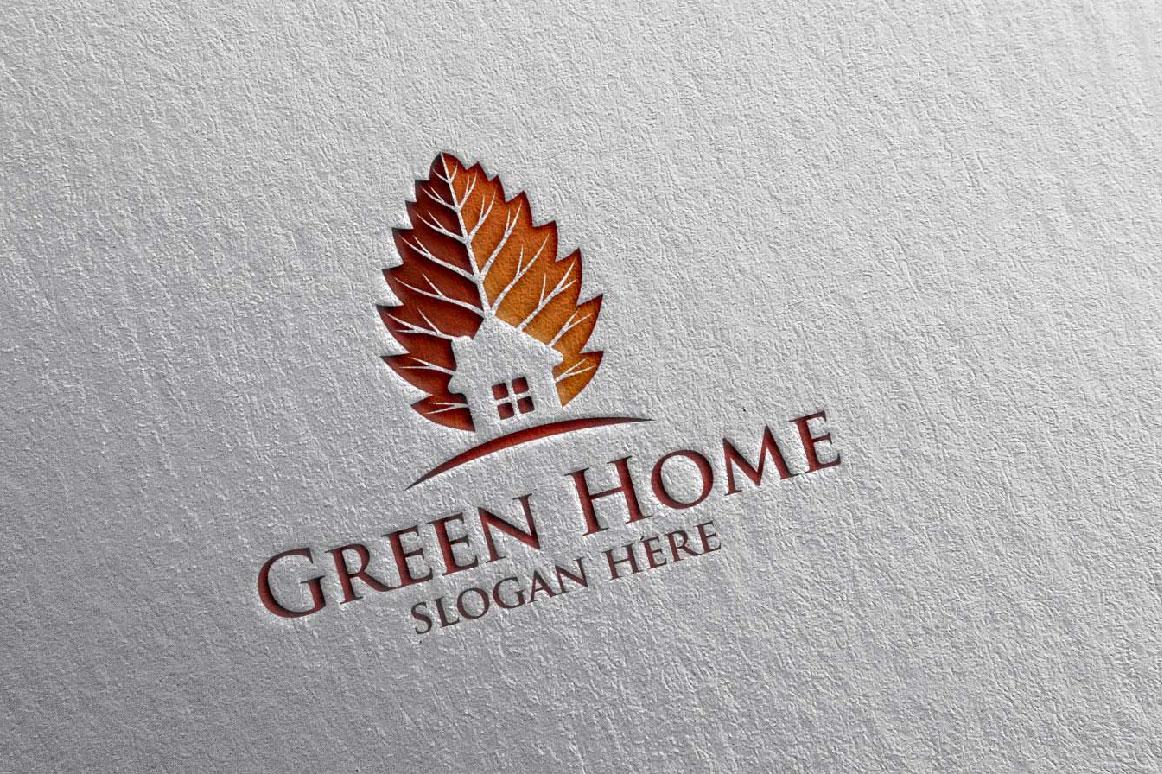 Real estate Logo, Green Home Logo 20 example image 3