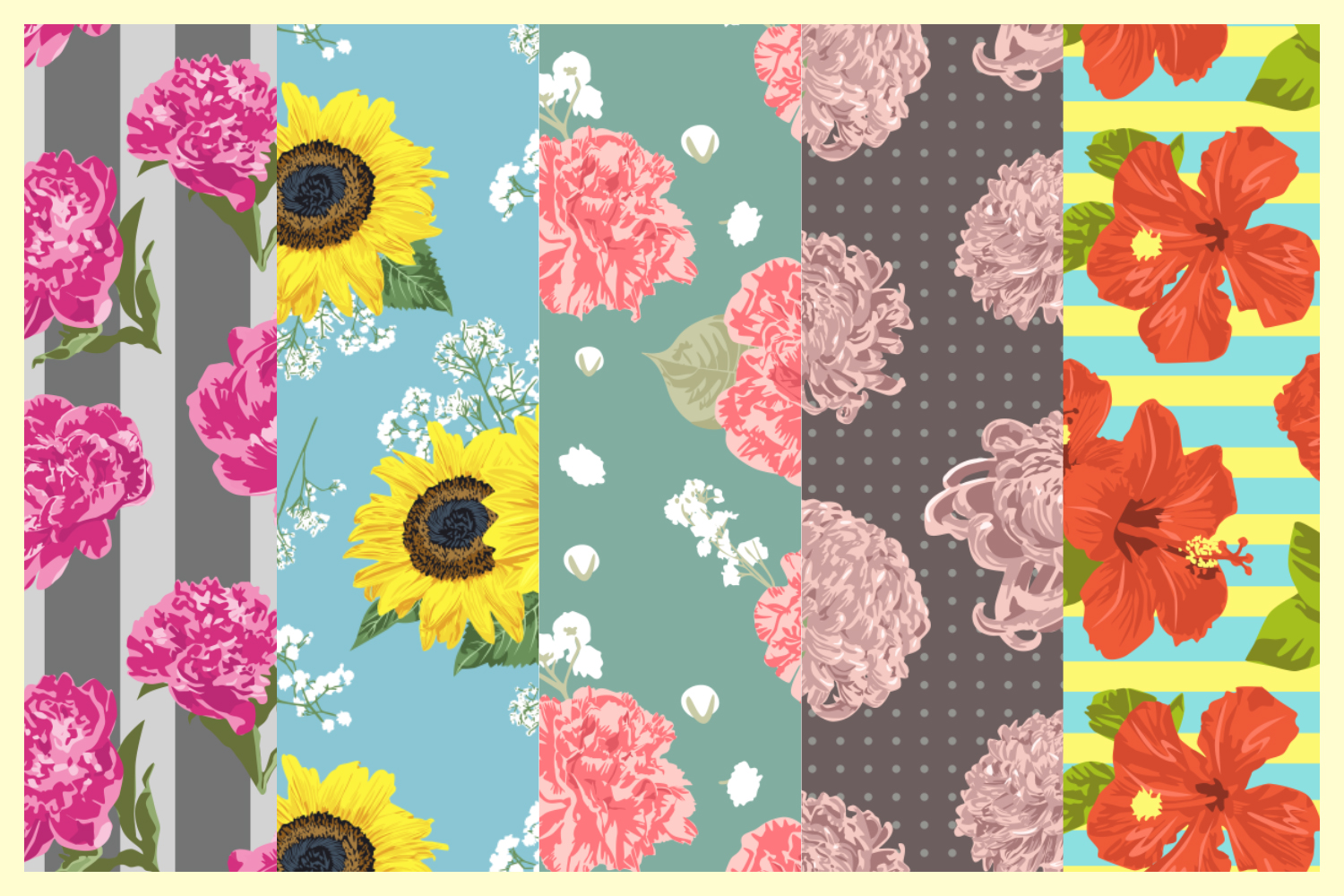 Vector Flowers Seamless Pattern Set example image 2