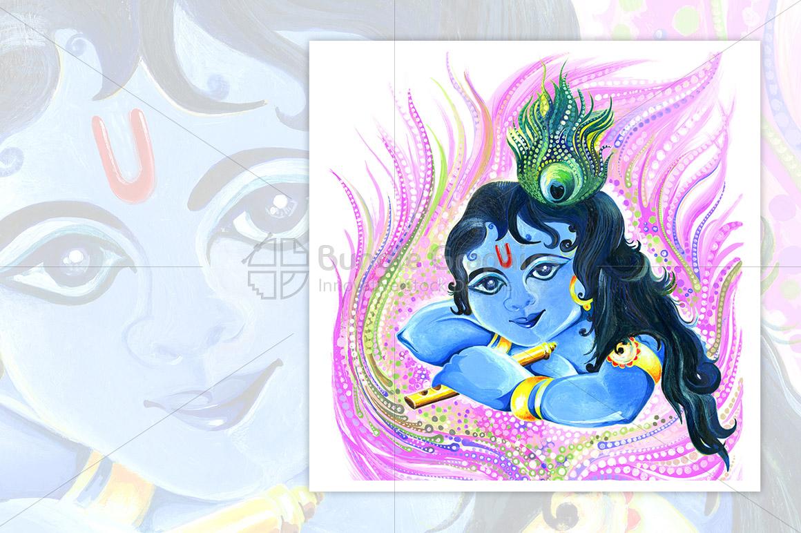 Bal Krishna - Handmade Painting example image 1