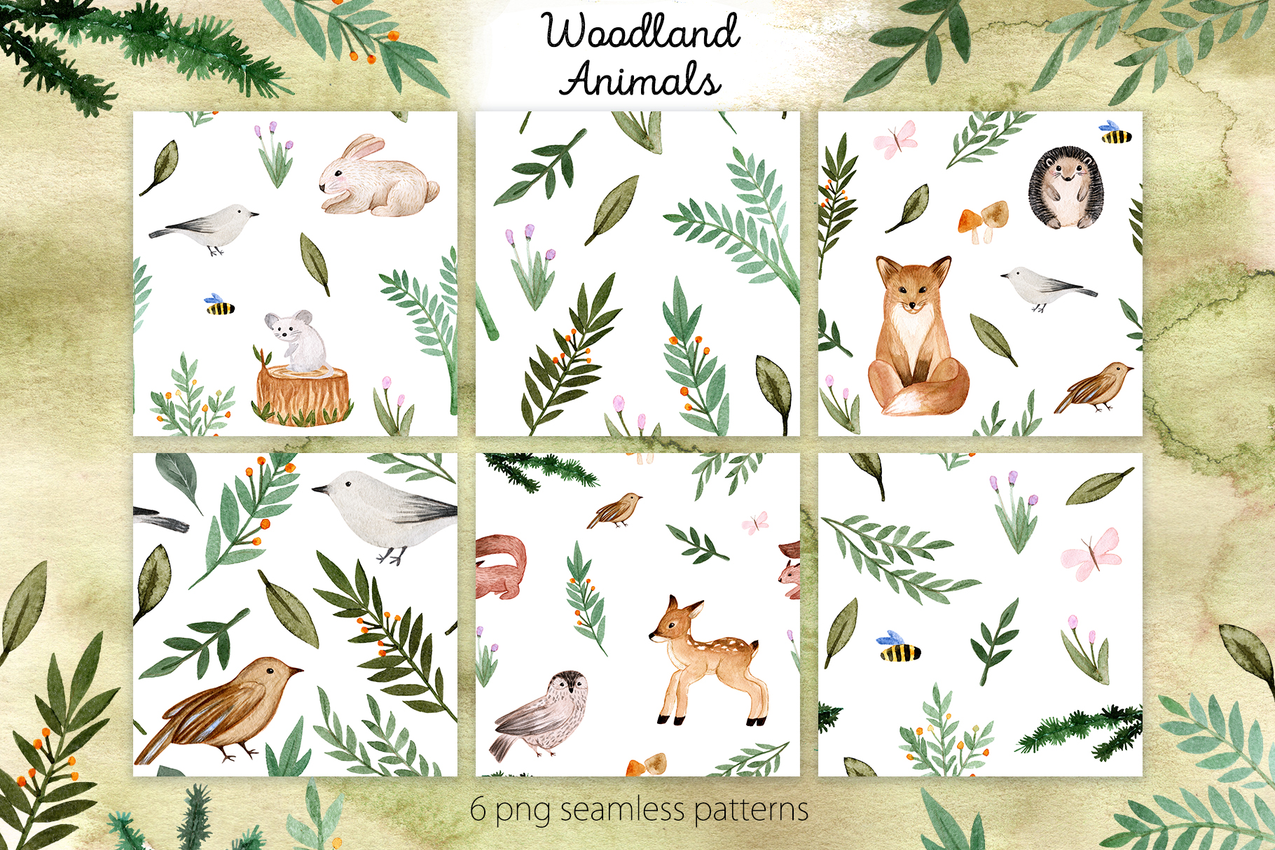 Woodland Animals. Patterns, Cliparts example image 3
