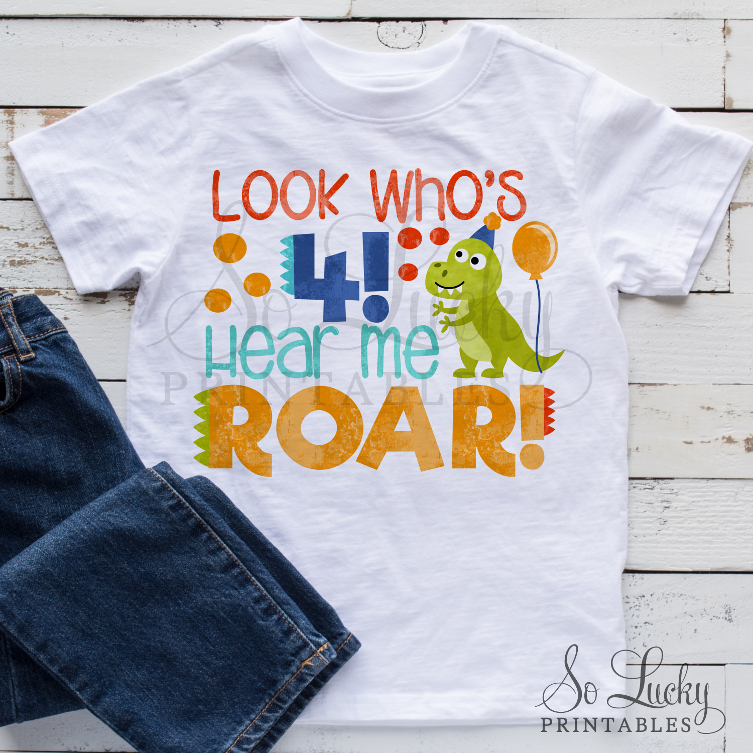 Look who's 4, hear me roar birthday sublimation design example image 2