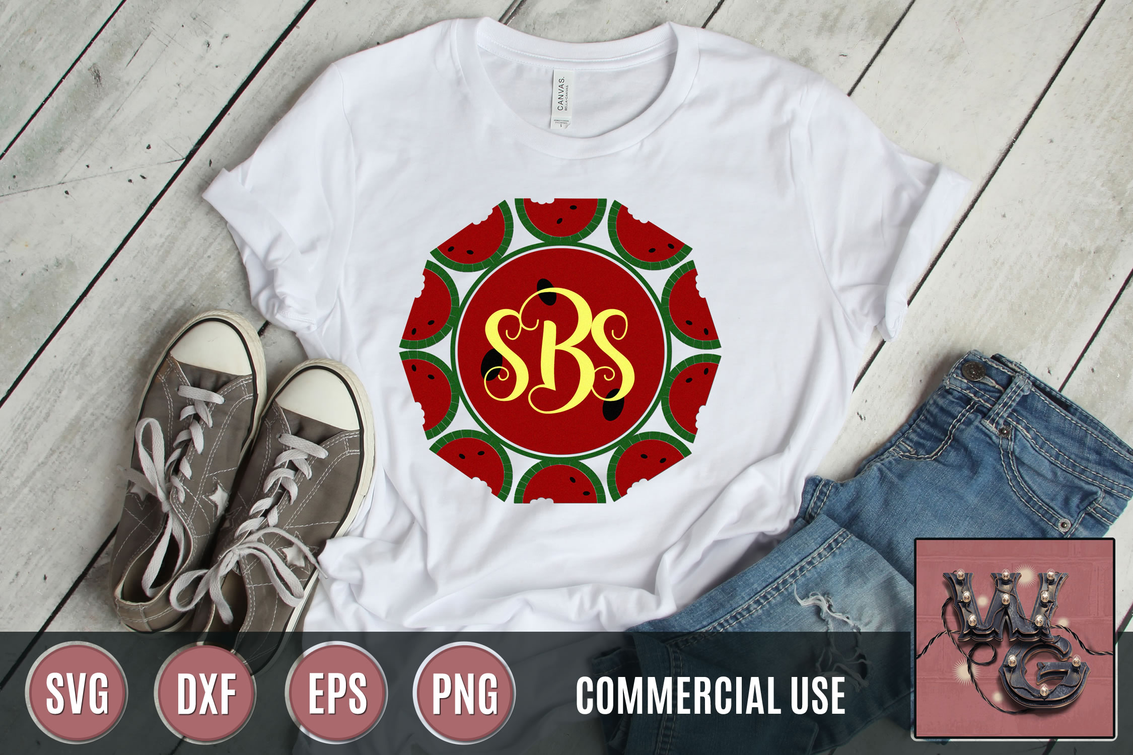 Watermelon Monogram SVG DXF PNG EPS Comm example image 1