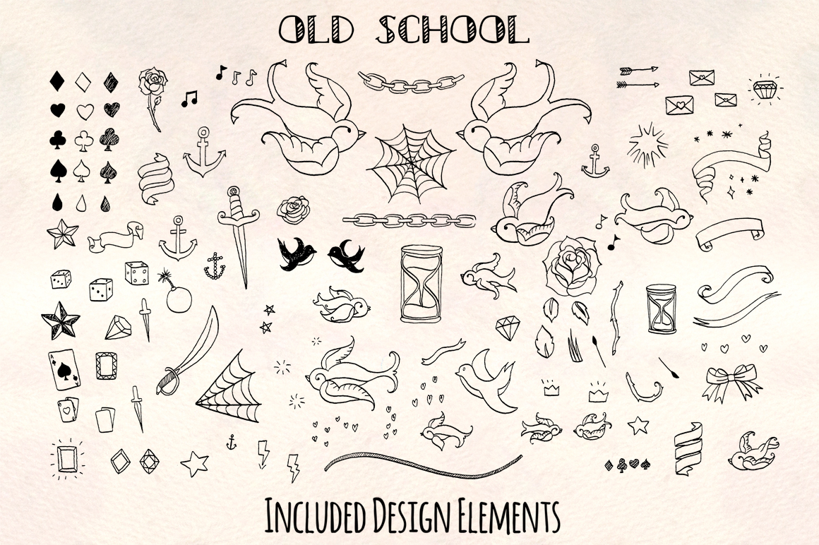 100 Old School Tattoo Flash Art Sketch Vectors example image 2