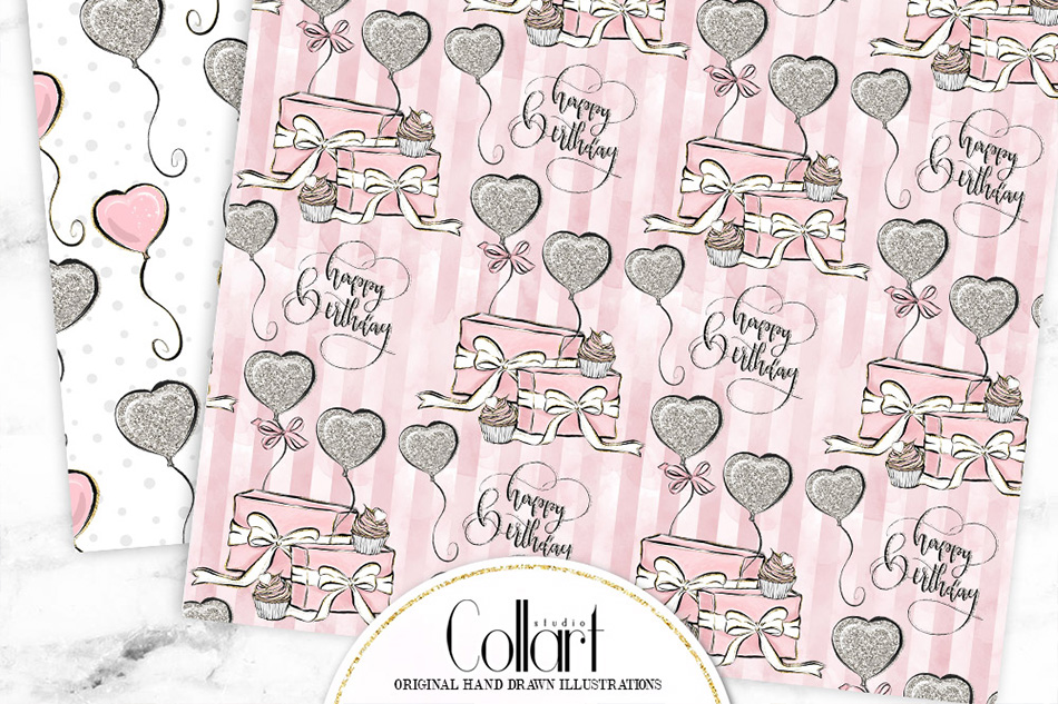 Elephant digital paper, baby girl papers, seamless patterns example image 2
