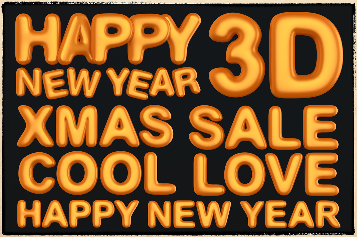 New Year 3D PNG Items Pack example image 4