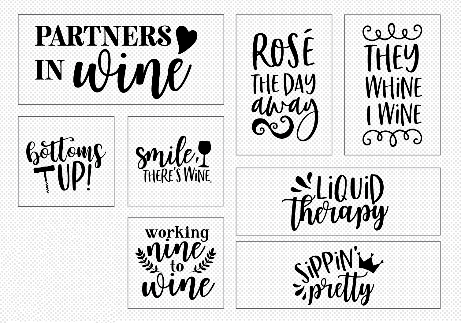 Wine Lover's Quote SVG Cut File Bundle example image 3