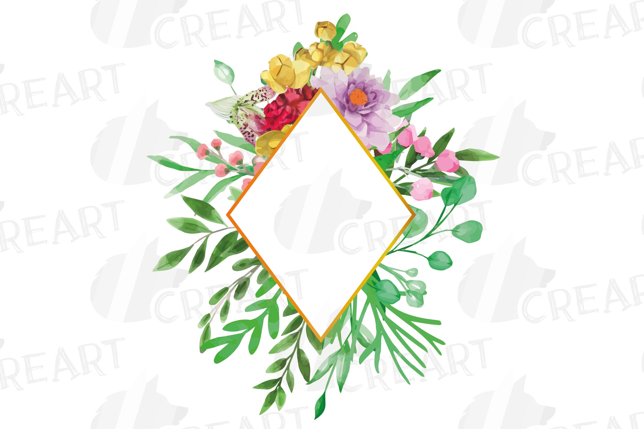 Watercolor floral floral frames and borders clip art pack example image 9
