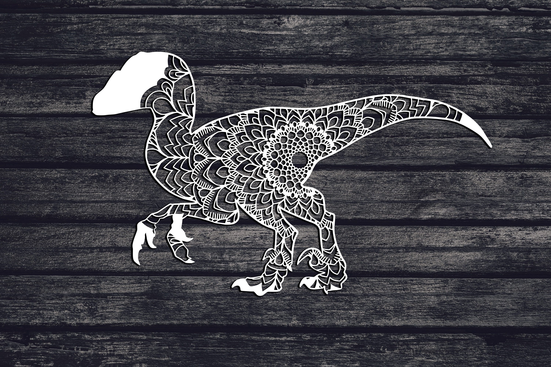 Mandala Raptor Svg, Dinosaur Svg, Velociraptor Svg, Boho example image 1