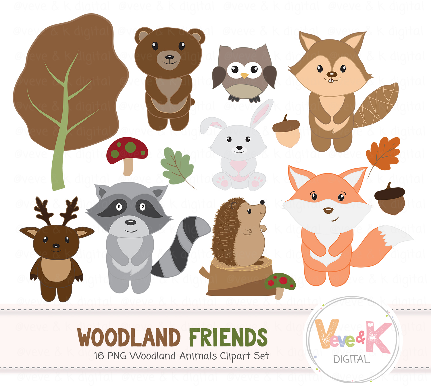 Woodland Animals Clipart Set Woodland Design Bundles