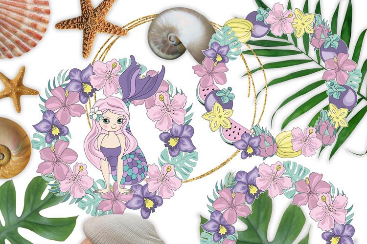 MERMAID VACATION Glitter Vector Illustration Set example image 7