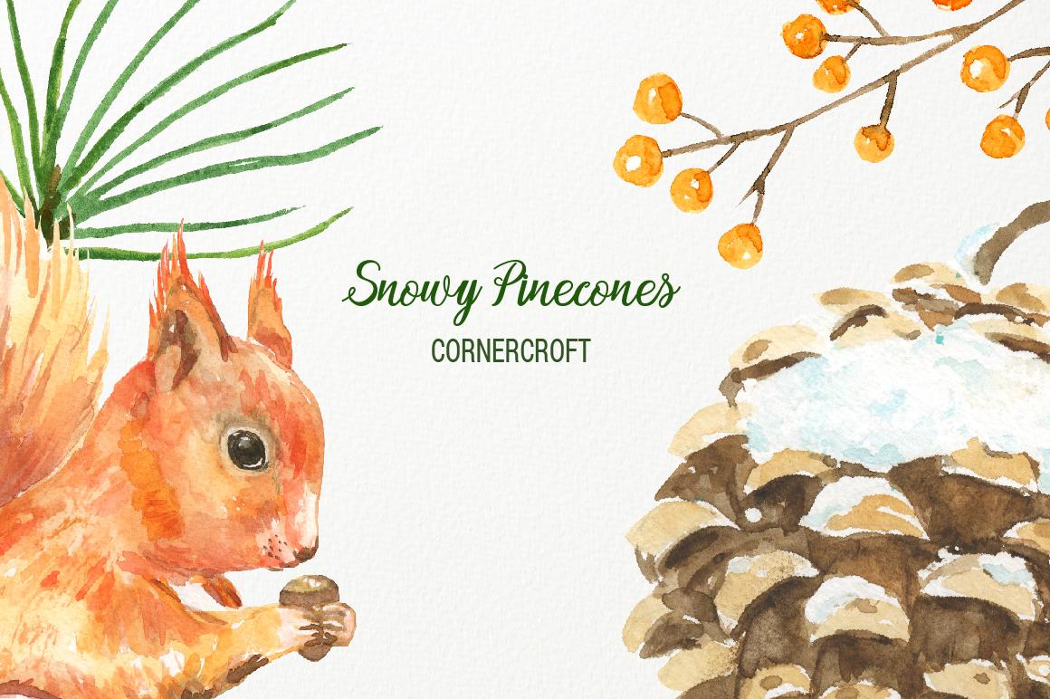Snowy Pine Cones Watercolor Clipart example image 4