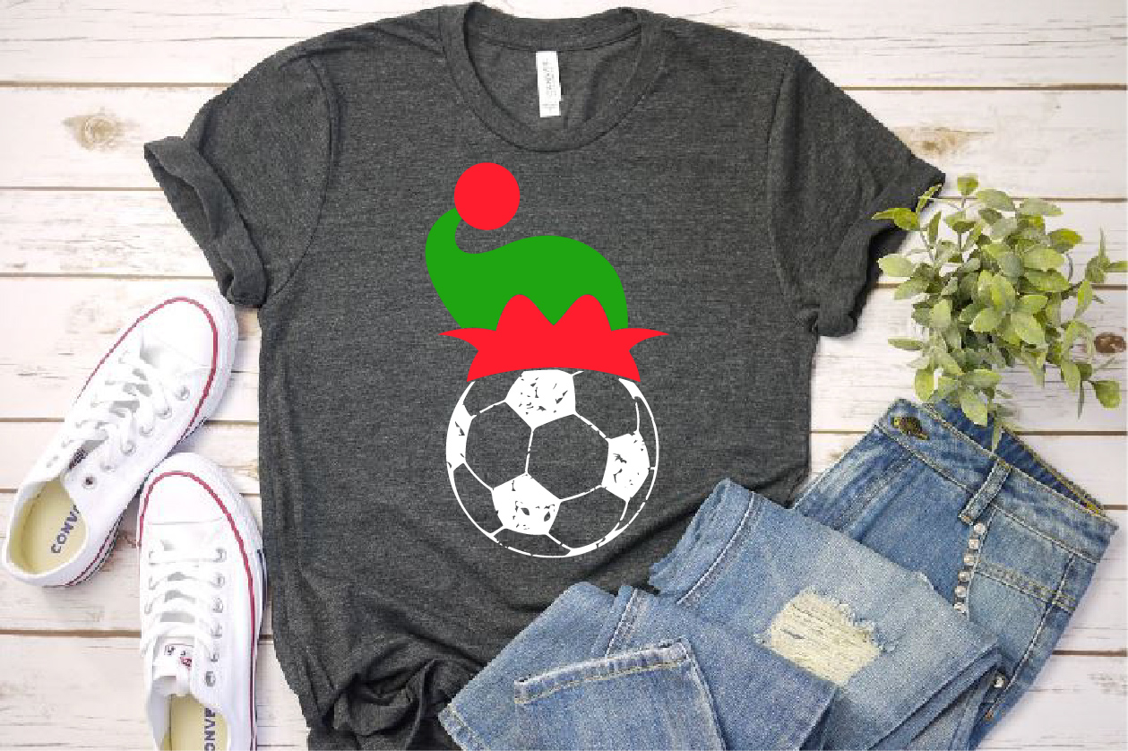 Soccer Christmas Hat svg Elf sweater tackle santa 1050s example image 1