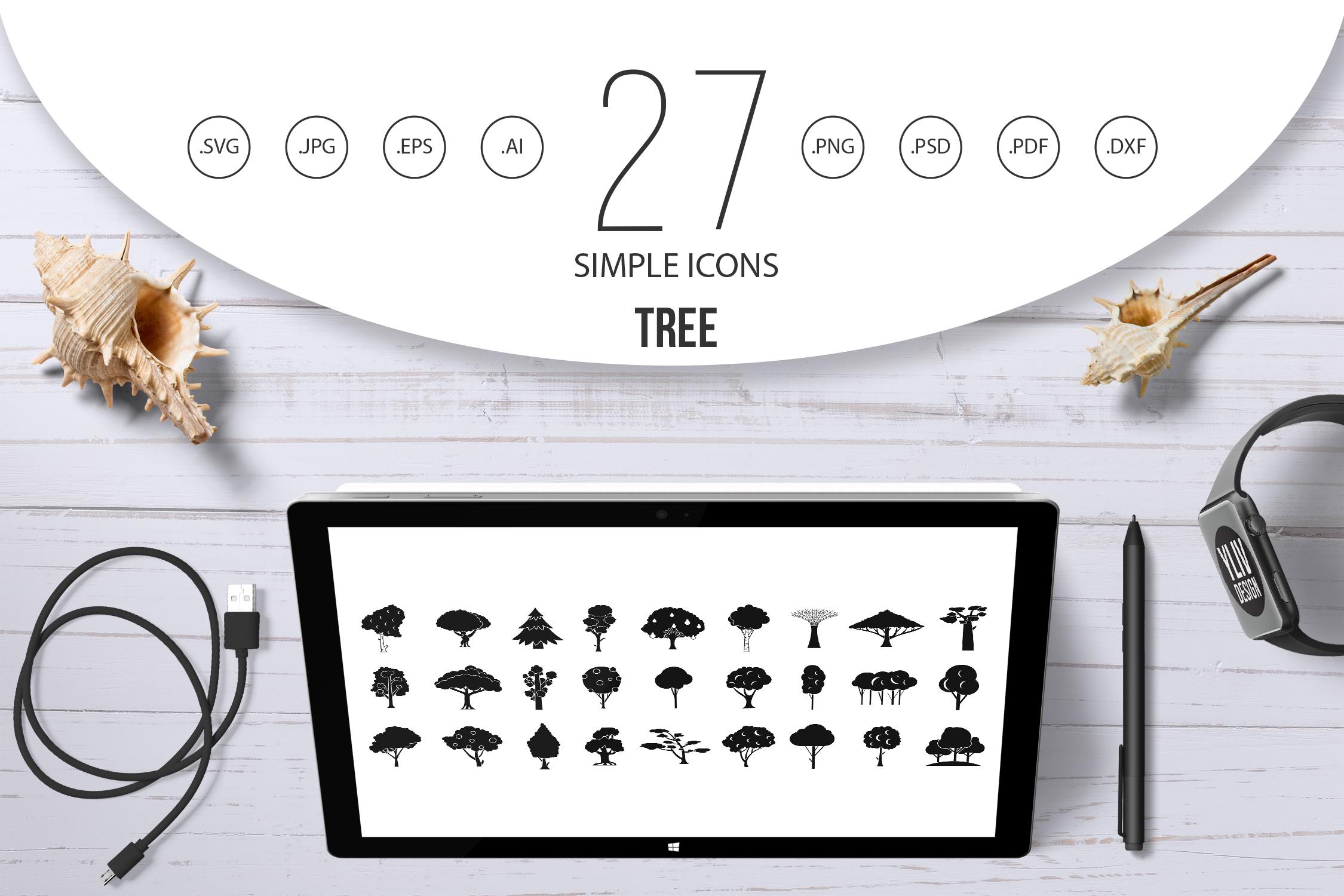 Tree icon set, simple style example image 1