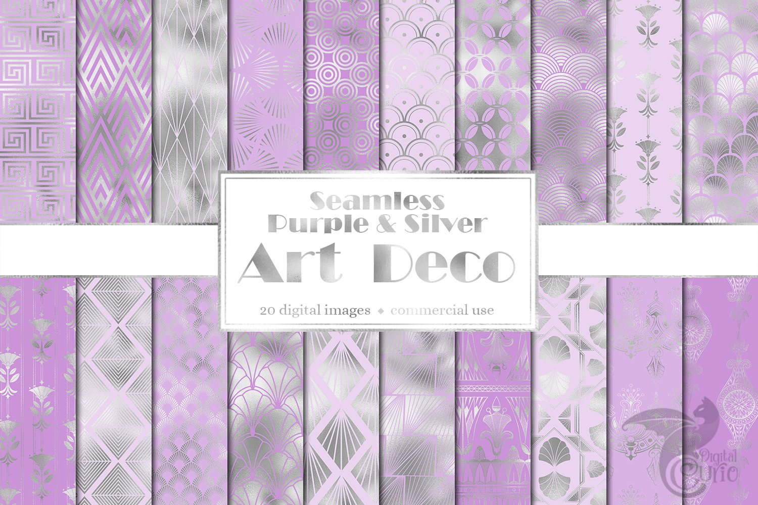 Purple and Silver Art Deco Digital Paper example image 1
