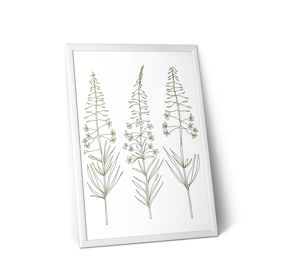 Hand drawn wild flowers and fern leaves example image 3