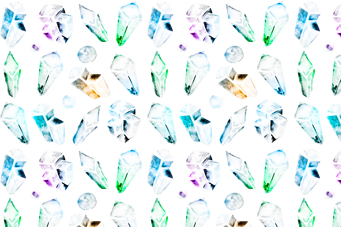 Watercolor crystals patterns example image 9
