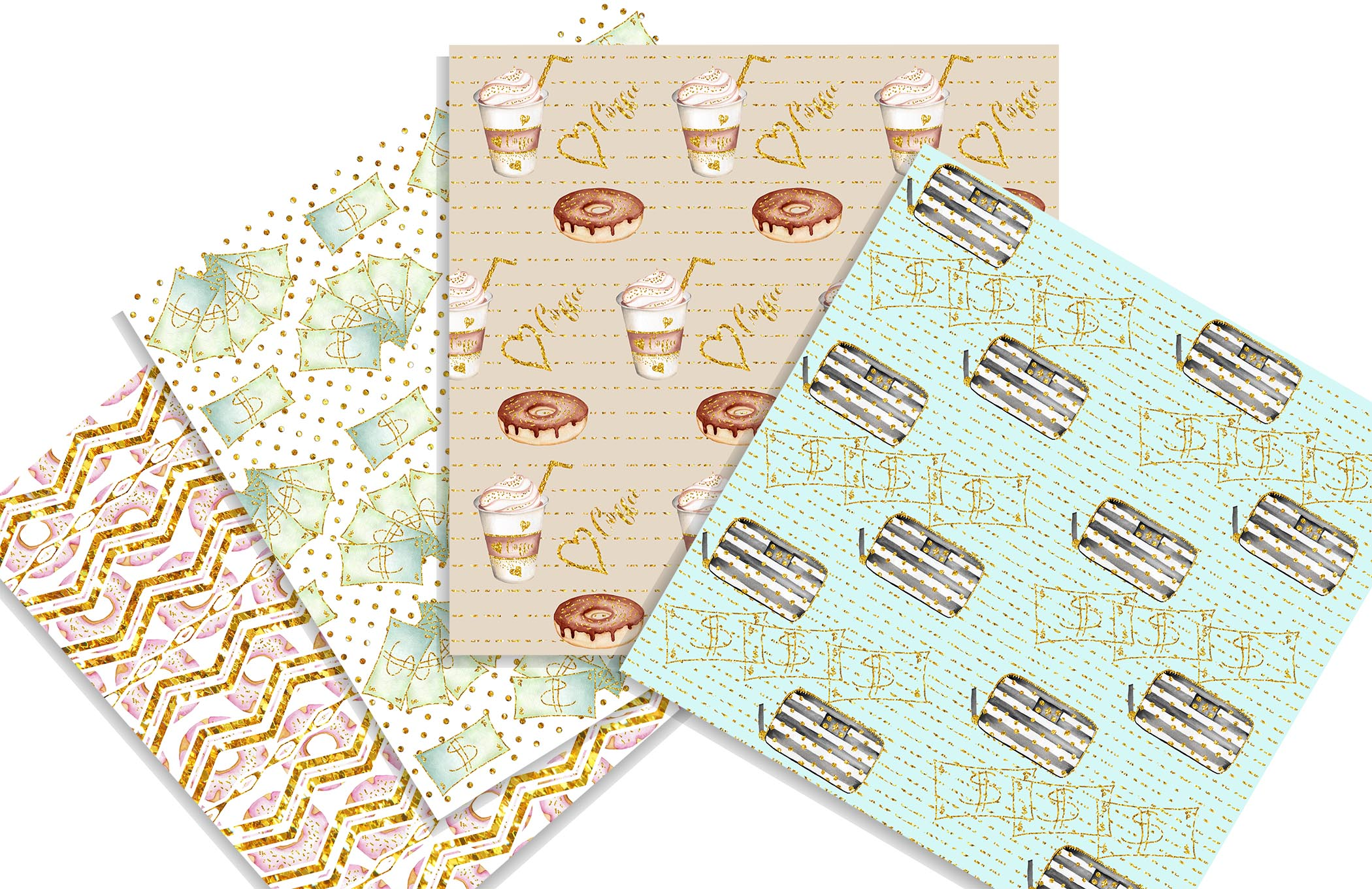 Summer Shopping digital background papers example image 2