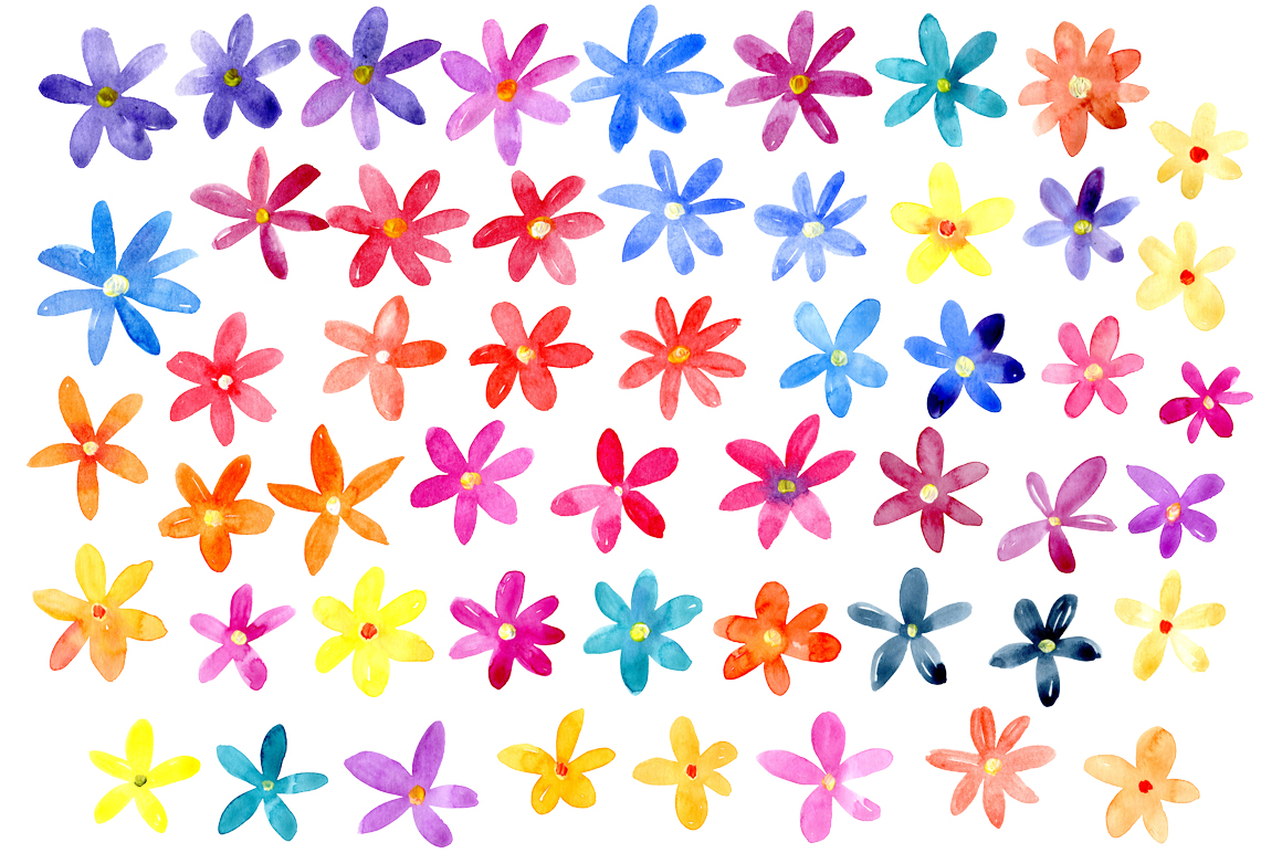 Bright watercolor flowers set example image 2
