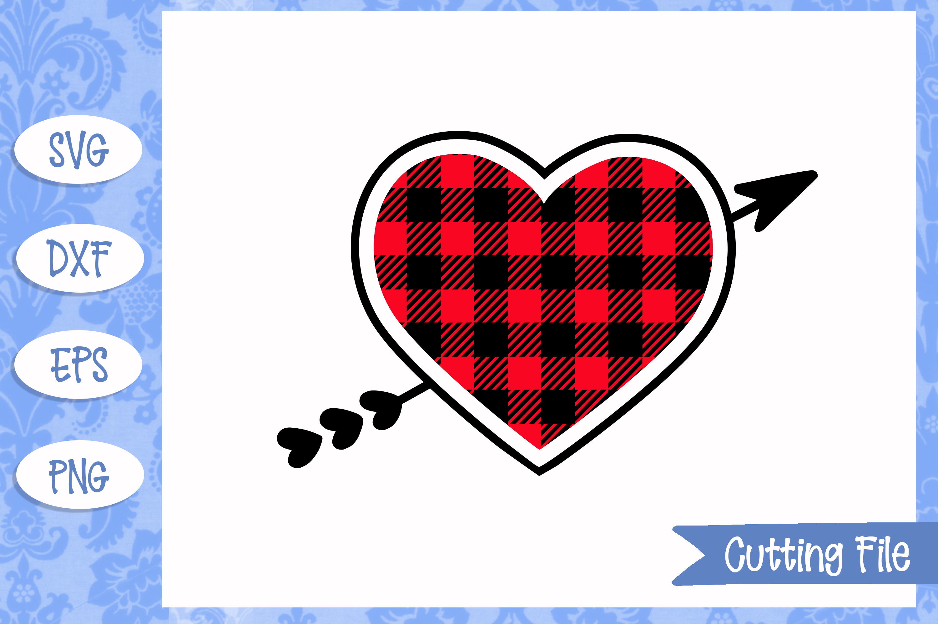 Plaid Valentine Heart SVG File example image 1