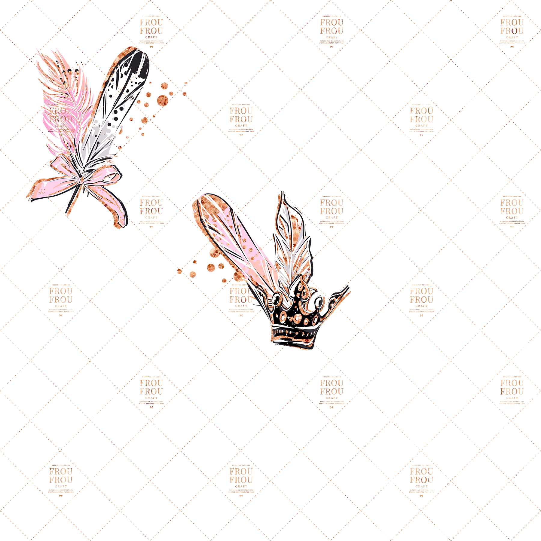 Swan Rose Gold Glitter Nursery Clip Art example image 4