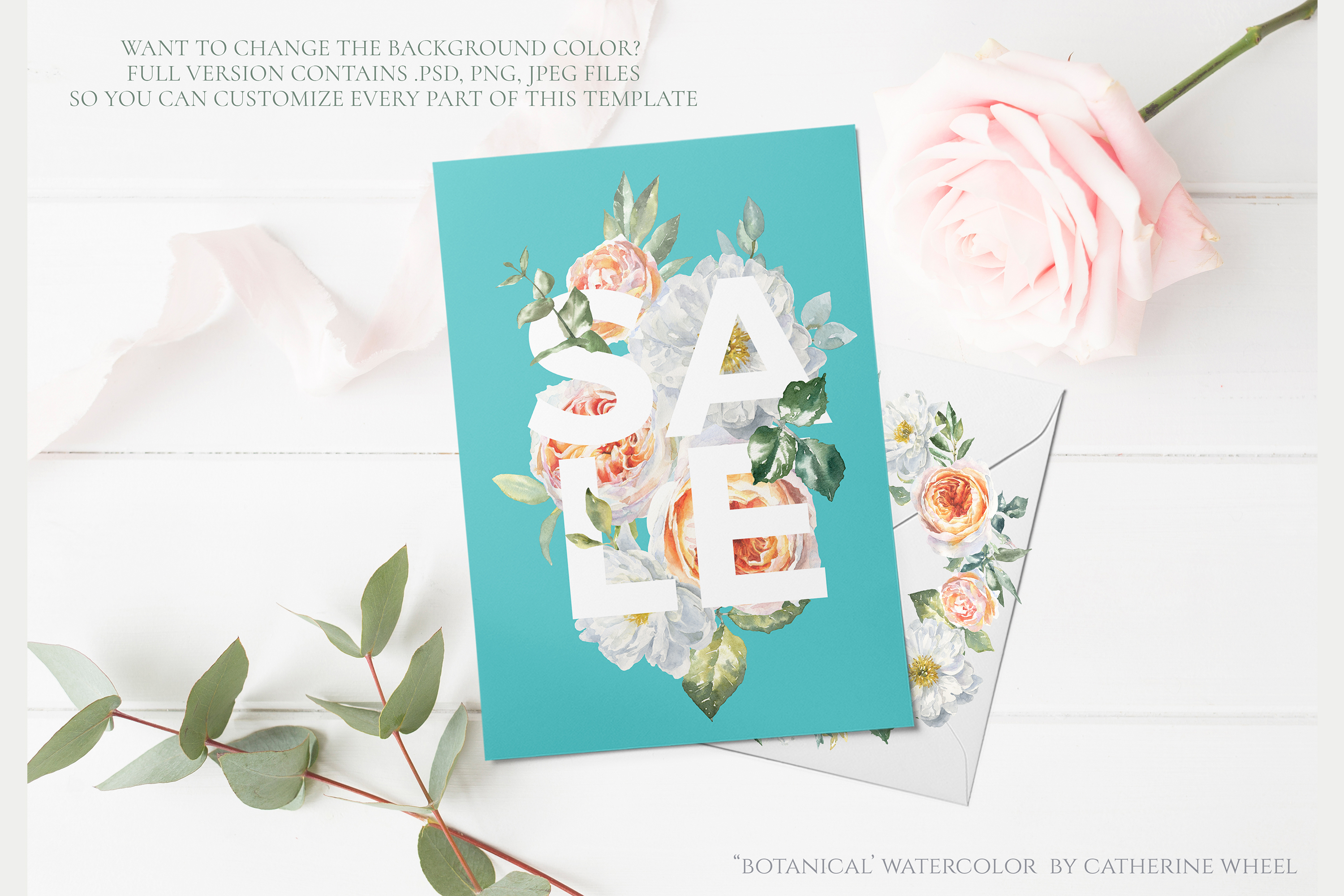 FREEBIE Floral Typography Free Botanical graphics example image 4