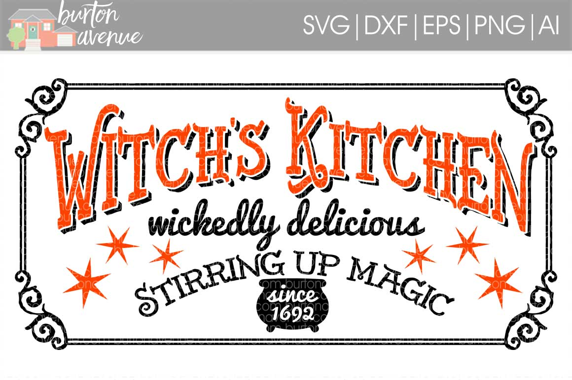 Witch's Kitchen Halloween Sign cut File - SVG DXF EPS AI PNG example image 1