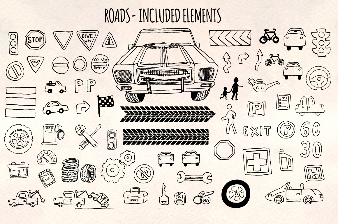 66 Cars and Road Transport Vector Sketches example image 2