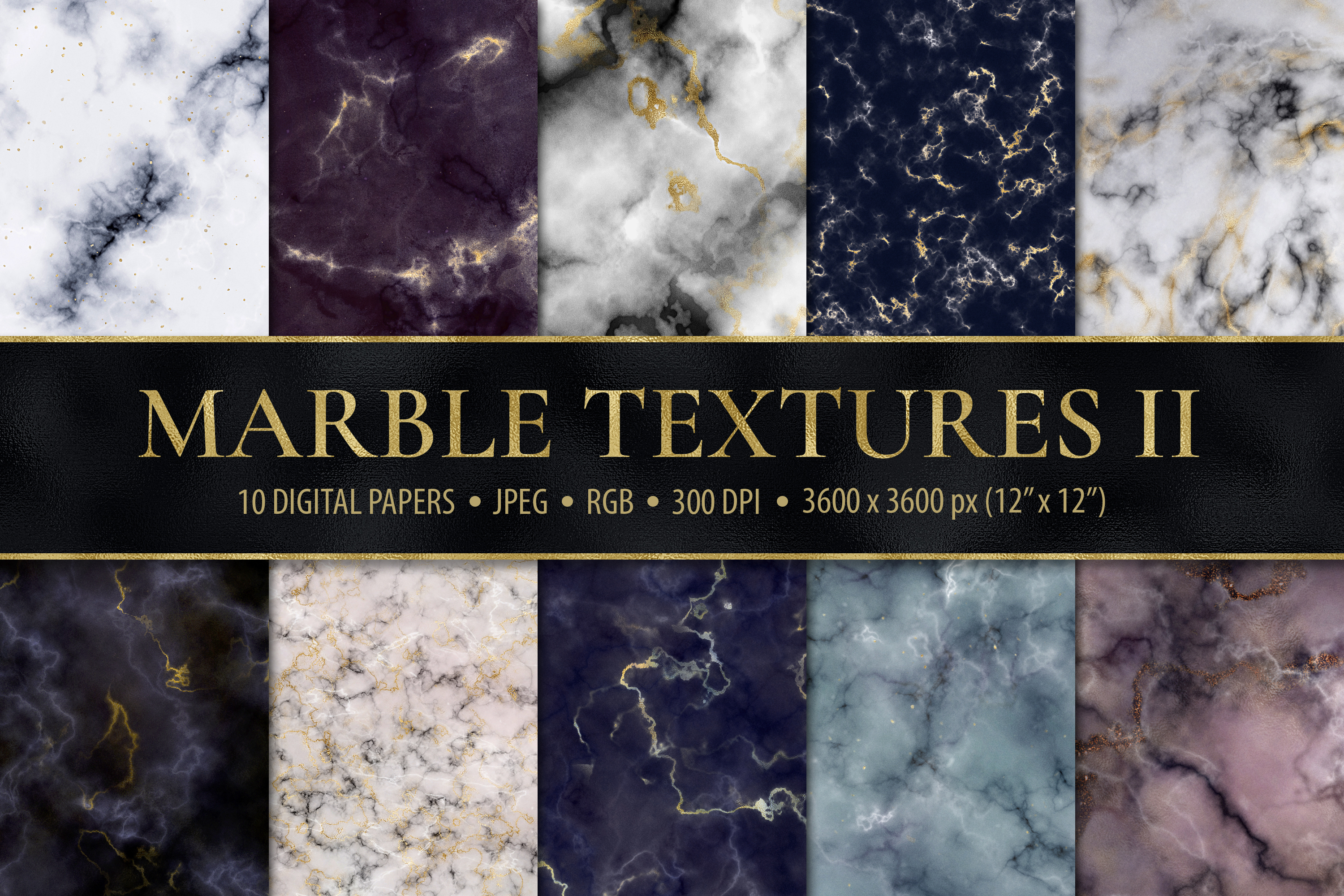 Marble Digital Papers - 10 Veined Marble Textures example image 1