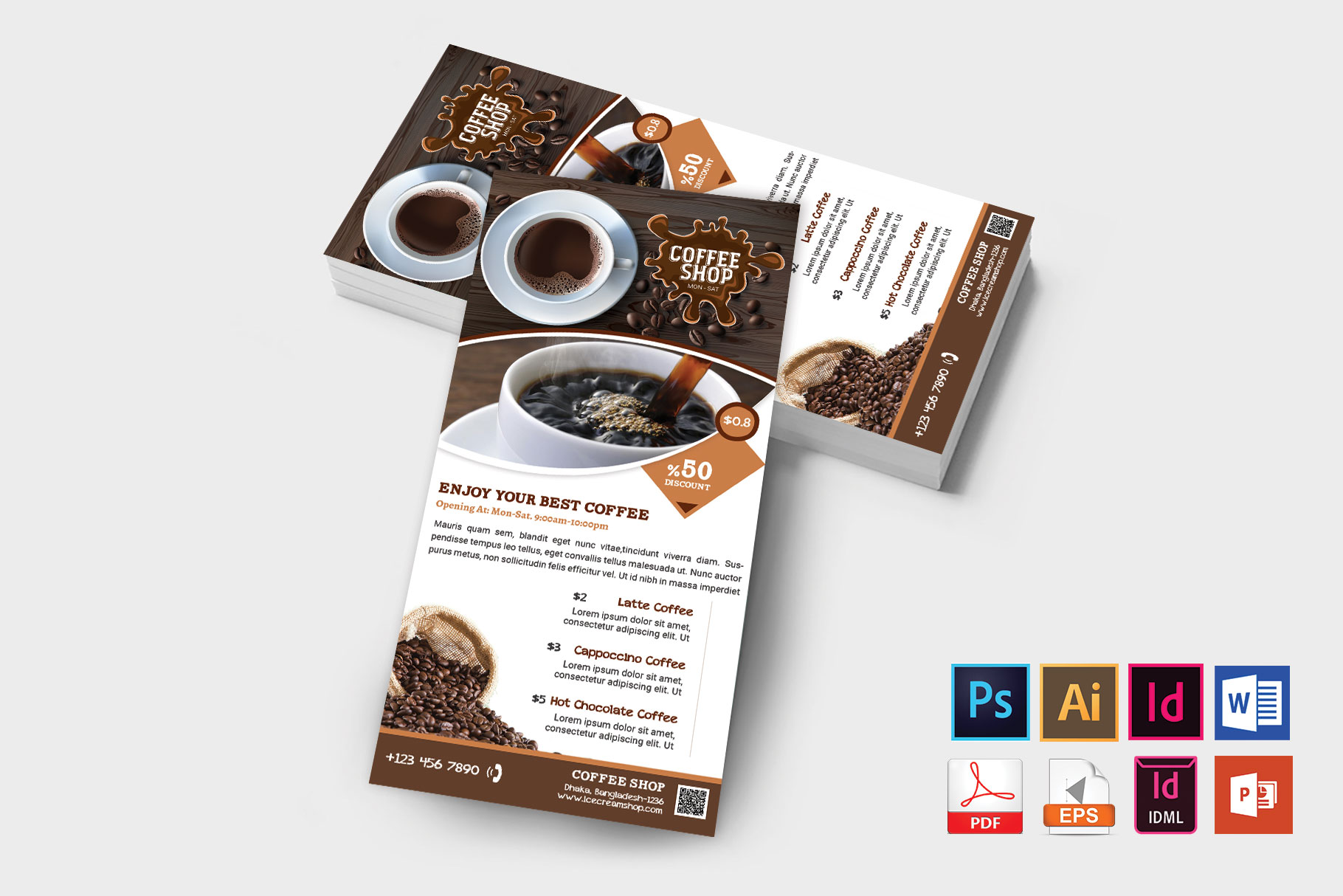 Rack Card | Coffee Shop DL Flyer Vol-01 example image 2
