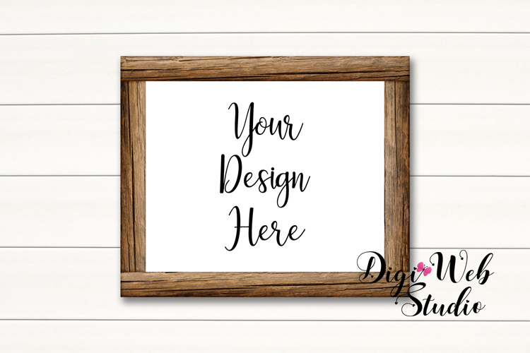 Wood Signs Mockup Bundle - 10 Wood Frames on White Shiplap example image 3