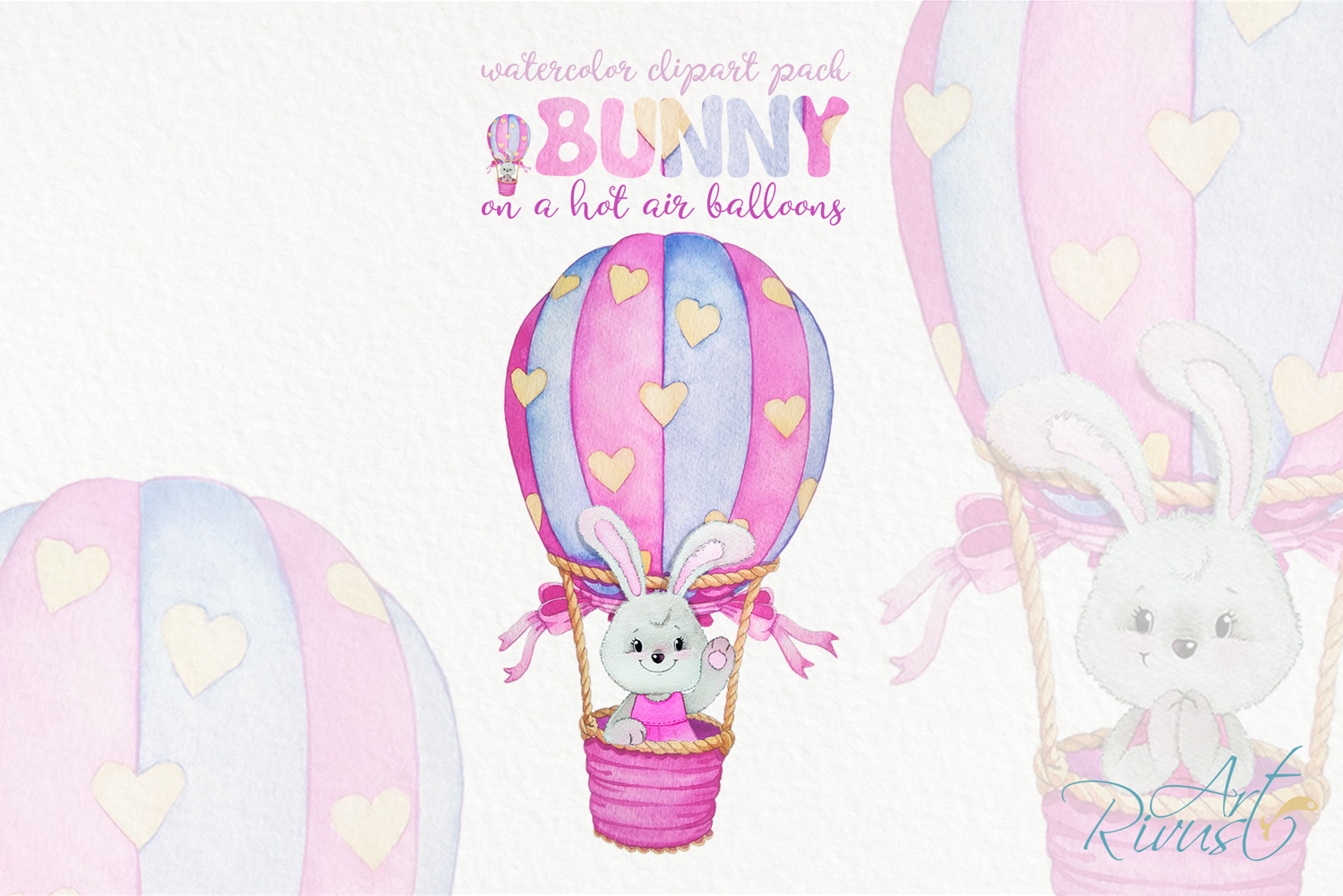 Clipart set watercolor bears with seagull hot air balloons example image 9