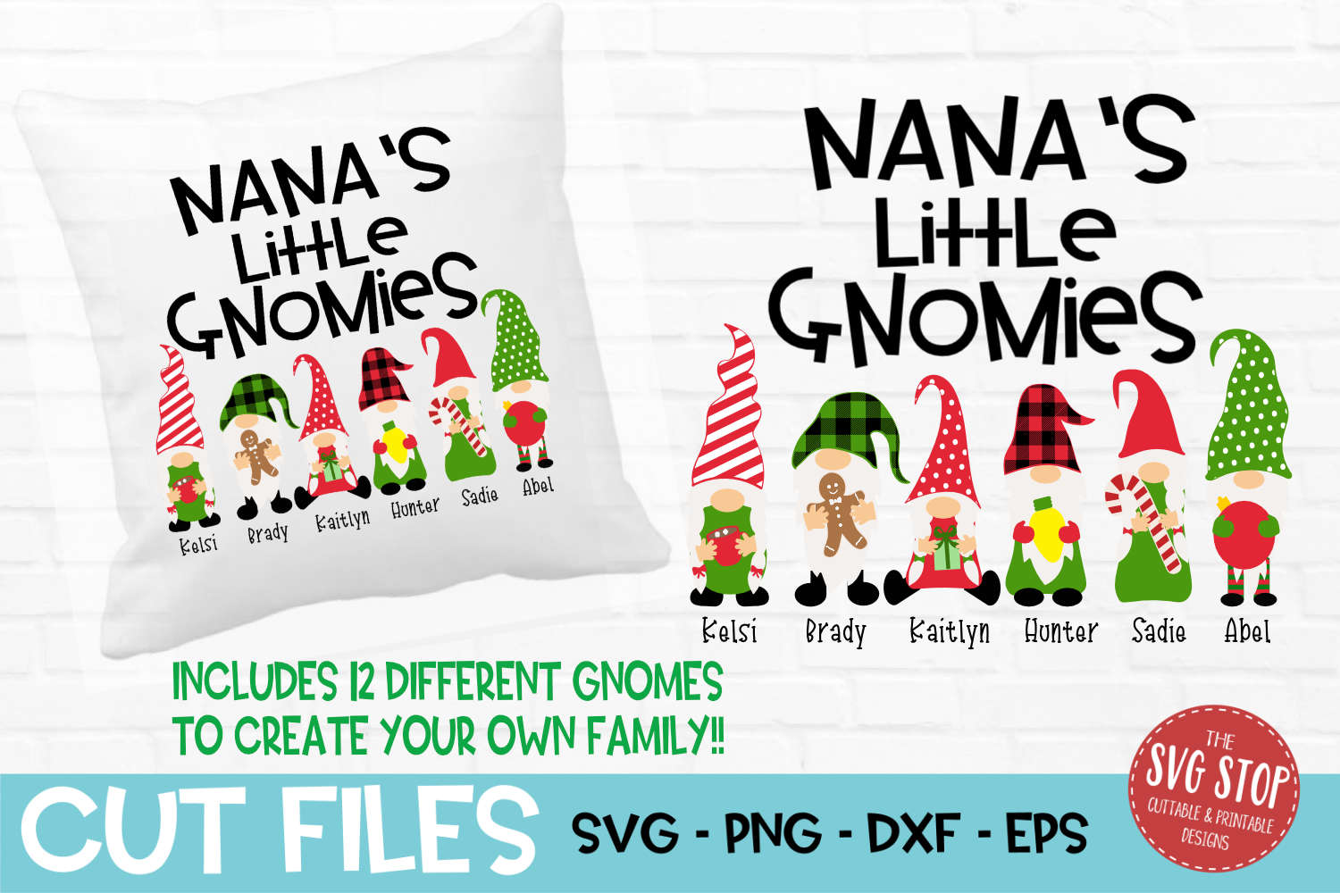 Nana's Little Gnomies Christmas SVG, PNG, DXF, EPS example image 1