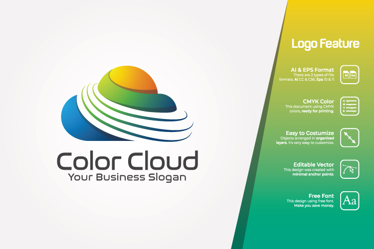 Colorful Cloud Logo Template example image 1