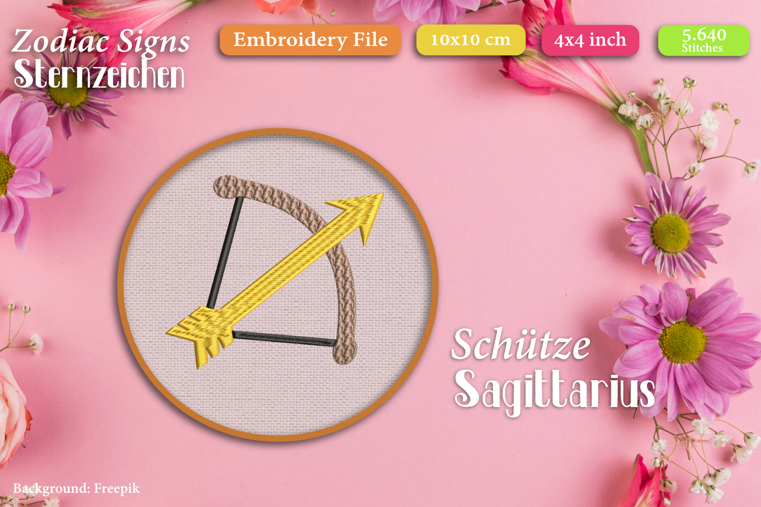 Zodiac signs - Embroidery Files - Bundle example image 13