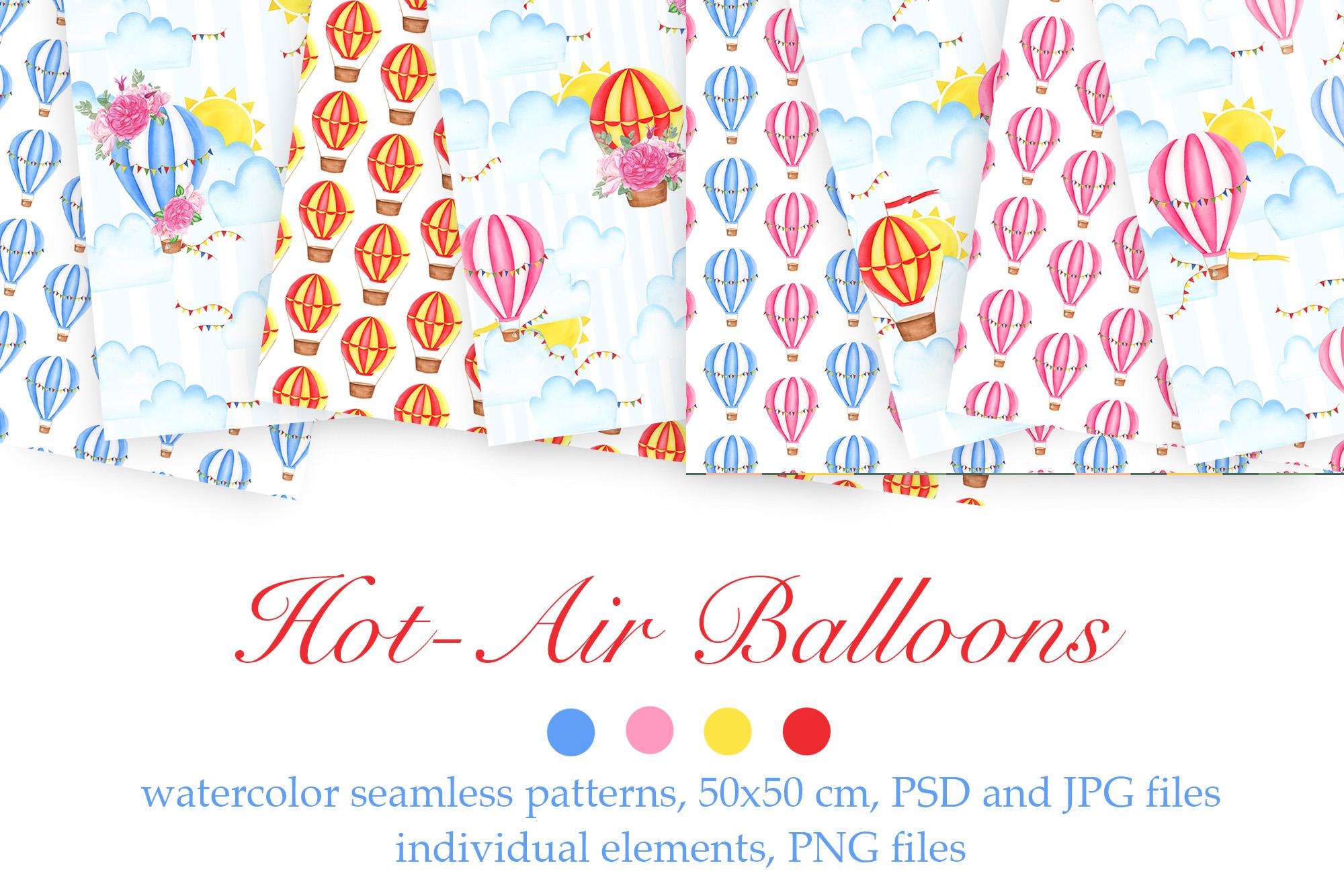 Watercolor Hot-Air Balloons Patterns example image 1